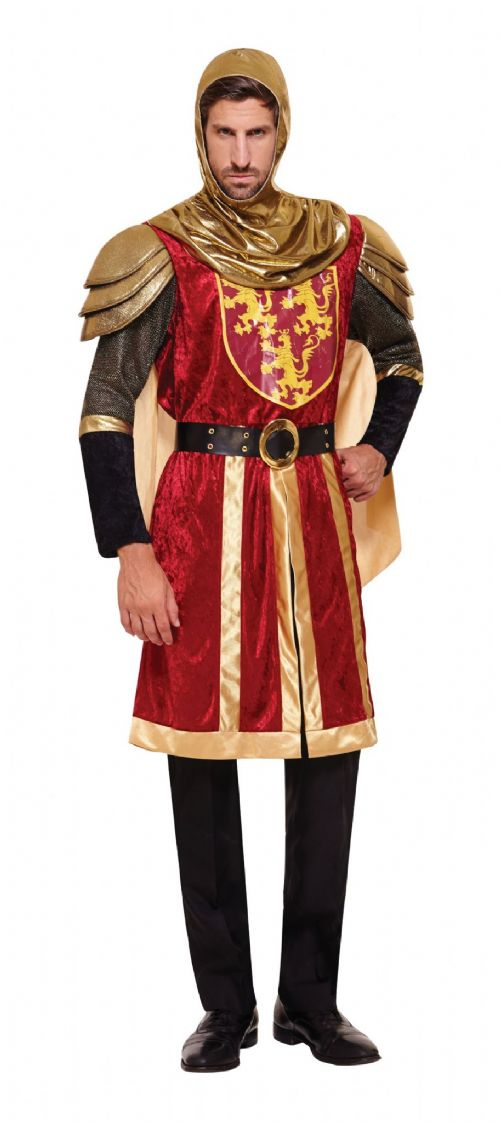 Mens Crusader Red Costume Medieval Knight Arthur St George Fancy Dress Outfit